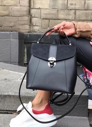 Кожа кожаная сумка рюкзак на ручке cross-body сумочка трендова...