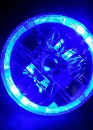Передние фары на ВАЗ 2101 или Ниву с ангельскими глазками синие