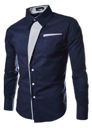 Рубашка приталенная M, L, XL, XXL темно-синяя код 2