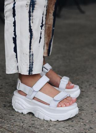 Женские босоножки на платформе buffalo white ✰ сандали ✰ белог...
