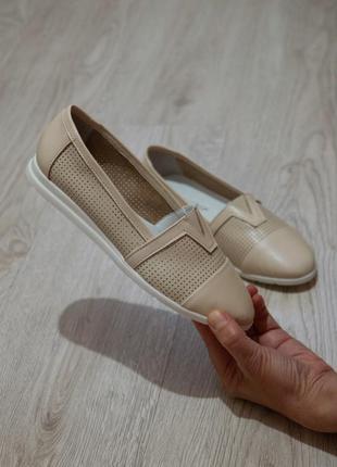 Бежевые летние балетки эспадрильи из натуральной кожи!