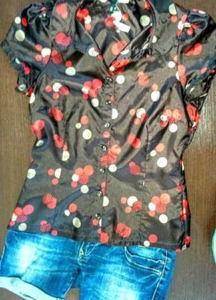 Красивая блуза, рубашка в горох, молодежная одежда