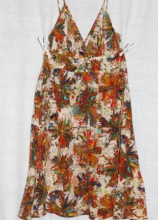 100% шелк летний сарафан платье на брительках topshop