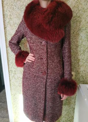 Ted baker пальто шерсть, натуральный песец