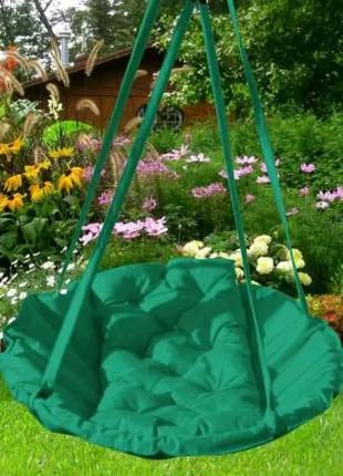Подвесное кресло-качеля для дома, сада, дачи, зеленая