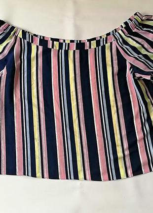 Блузка в полоску разноцветная спущенные плечи батал большой ра...