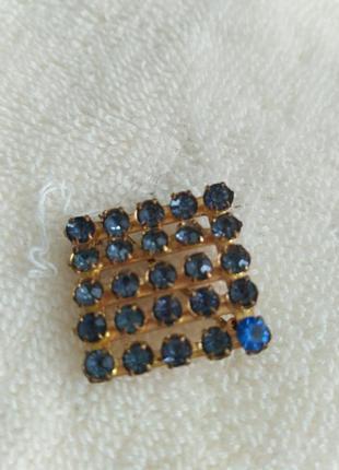 Брошка брошь квадратная с синими камнями винтаж ссср