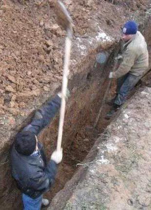 Копка демонтаж траншеи сливные ямы сантехника демонтажные работы