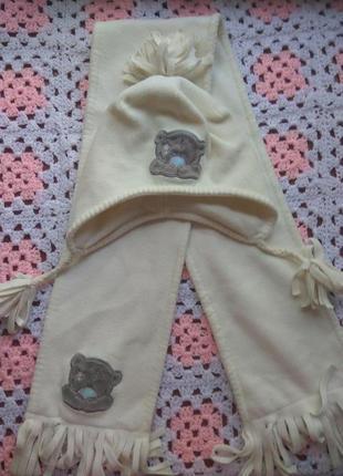 Фирменный набор шапка и шарф с мишкой тедди от next на 7-10 лет.
