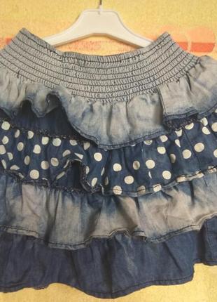 Джинсовая юбка с воланами jennyfer