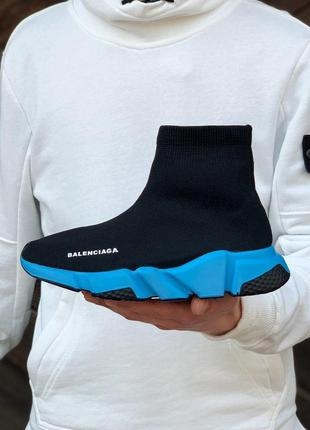Balenciaga speed trainer sneakers black blue женские кроссовки...
