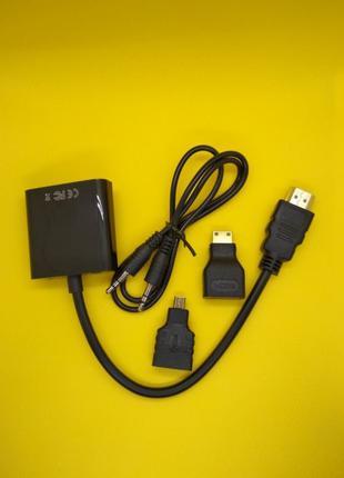 Конвертер HDMI на VGA + звук с переходниками micro и mini HDMI
