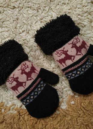 Очень теплые варежки рукавицы на меху, 1-2 года (можно дольше)
