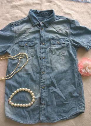 Джинсовая рубашка на девочку 12-13 лет с потёртостями rebel by...