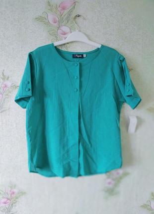 Бирюзовая блузка из натуральной ткани mageste