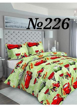 Комплект постельного белья салатовый с красным / тачки