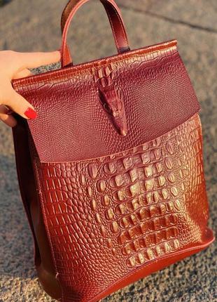 Сумка -рюкзак трансформер кожа расцветки, модные кожаные рюкза...