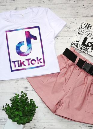 Крутой костюм тик ток, для девочек, футболка шорты
