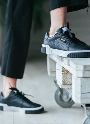 Стильные женские кроссовки puma cali white black чёрные