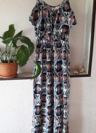 River island в пол летнее платье сарафан в принт с воланом пов...