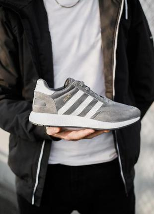 Классные мужские кроссовки adidas iniki runner vista grey серые