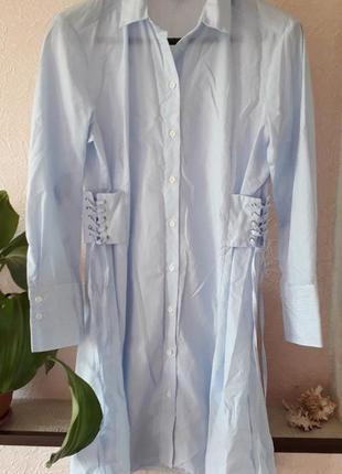 Topshop женское летнее платье рубашка в принт полоску с корсет...