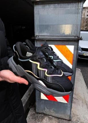 Шикарные мужские кроссовки adidas ozweego black чёрные