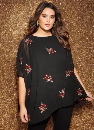 Yours london женская нарядная блузка вышиванка в принт цветы б...