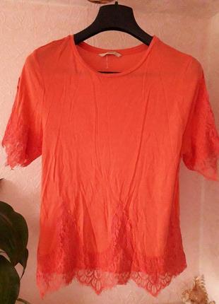George женская блузка футболка с рукавом кружевом коралл 8 10