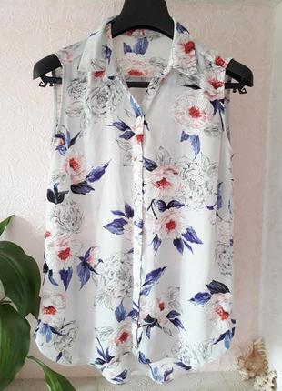 George   женская блузка рубашка без рукавов в принт цветы розы