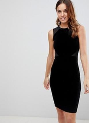 Женское черное вечернее нарядное бархат велюр клубное платье ф...