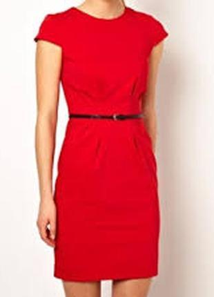 Красное нарядное повседневное платье футляр mango suit демисез...