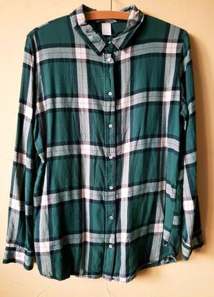 Рубашка в клеточку зеленая клетчатая бойфренд блузка