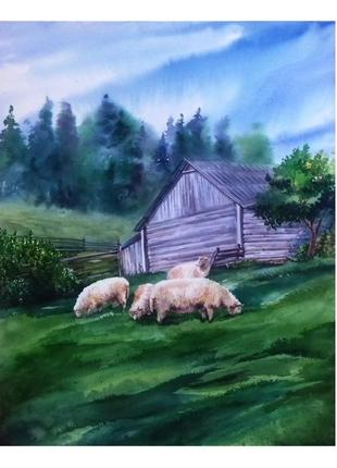"Картина акварелью ""Карпатские овечки"""