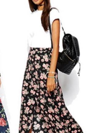 Бомбезная модная юбка с оборкой и разрезом спереди на пуговица...