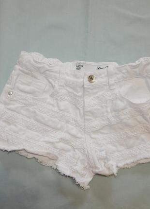 Шорты модные джинсовые белые на девочку 11-12 лет 152 см