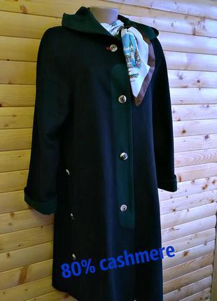 Стильное кашемировое  демисезонное пальто с капюшоном gerlach ...