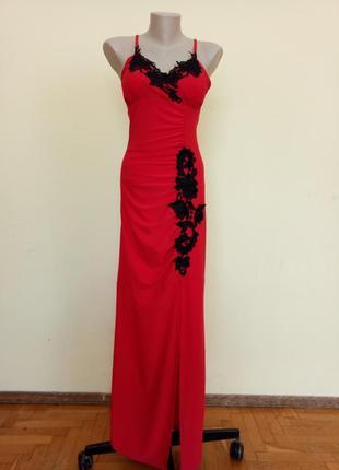 Шикарное вечернее платье длинное красное