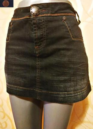 Классическая джинсовая мини юбка польского бренда молодежной о...