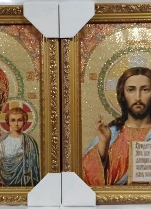Венчальная пара икон гобелен Спаситель и Казанская Божья
