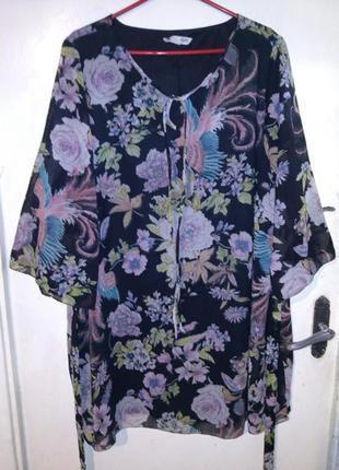 Красивое,шифоновое платье-туника с поясом и подкладкой,розы и ...