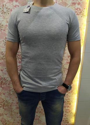 Мужская футболка, футболка коттон, футболка х/б,  серая футбол...