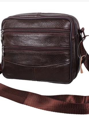 Вместительная кожаная сумка много отделений