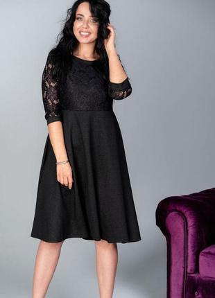 Свободное платье с гипюром черный