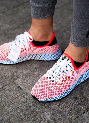 Стильные кроссовки adidas deerupt красные с синей подошвой и с...