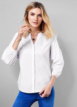 Белоснежная блуза. рубашка с объемными рукавами р-р: 46-48 наш, л