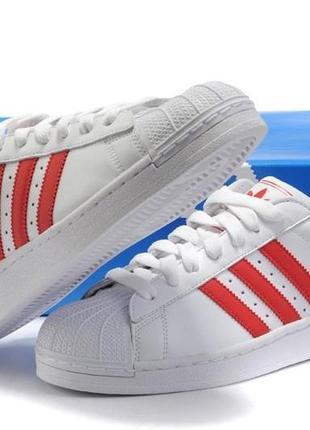 "Кроссовки adidas superstar ii ""white/red"" арт. 0124"