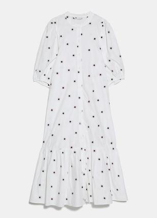 Платье миди с вышивкой zara