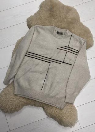 Мужская тёплая кофта свитер бежево-серого цвета с орнаментом