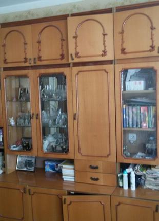Стенка дерево, пенал, бар, сервант, шкаф - всего 4 секции
